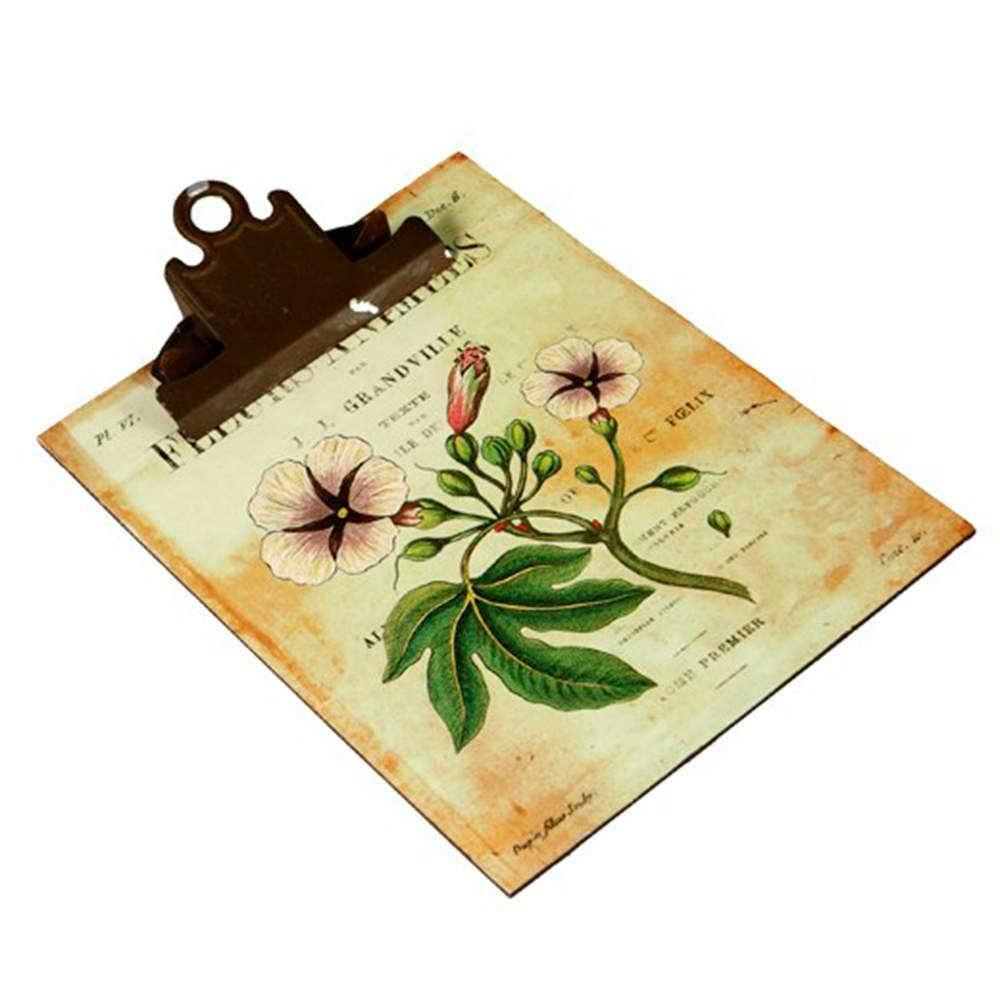 Prancheta com Estampa de Flores - Envelhecida - em Madeira - 30x20 cm