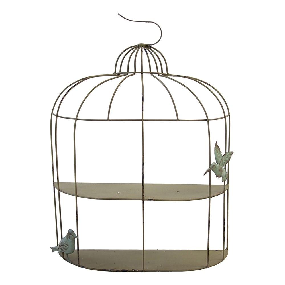 Prateleira Gaiola e Pássaros Verde em Ferro - 60x45 cm