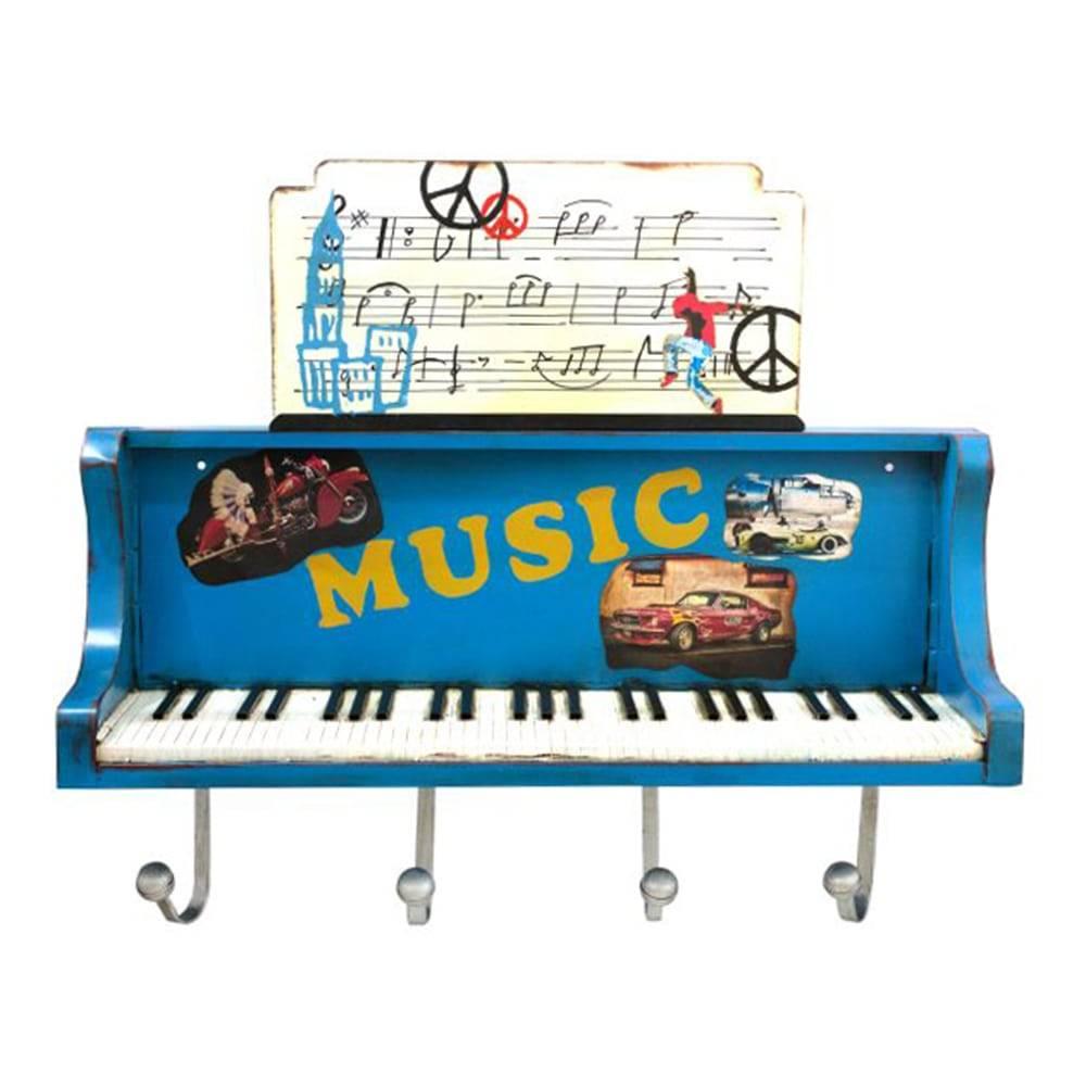 Prateleira Piano Azul com Ganchos Oldway em Metal - 101x26 cm