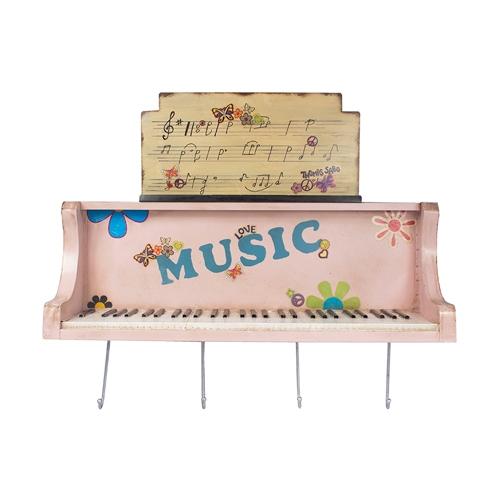 Prateleira Piano Rosa c/ Ganchos Oldway - 101x26 cm