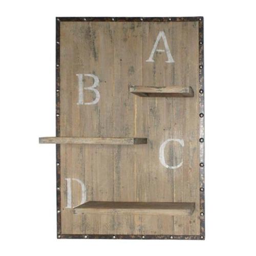 Prateleira Quadro ABCD Marrom em Madeira - 99,7x70,5 cm