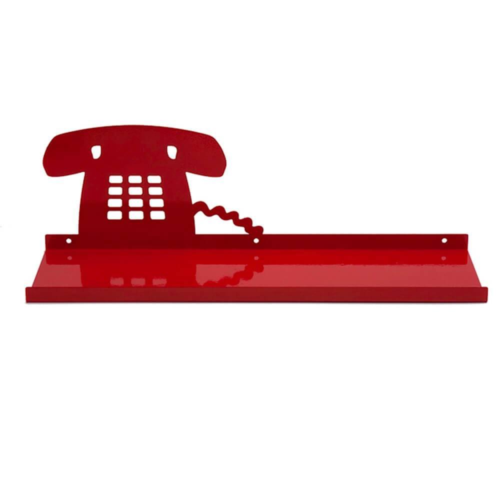 Prateleira Telefone Vermelha em Ferro - Urban - 45x14 cm
