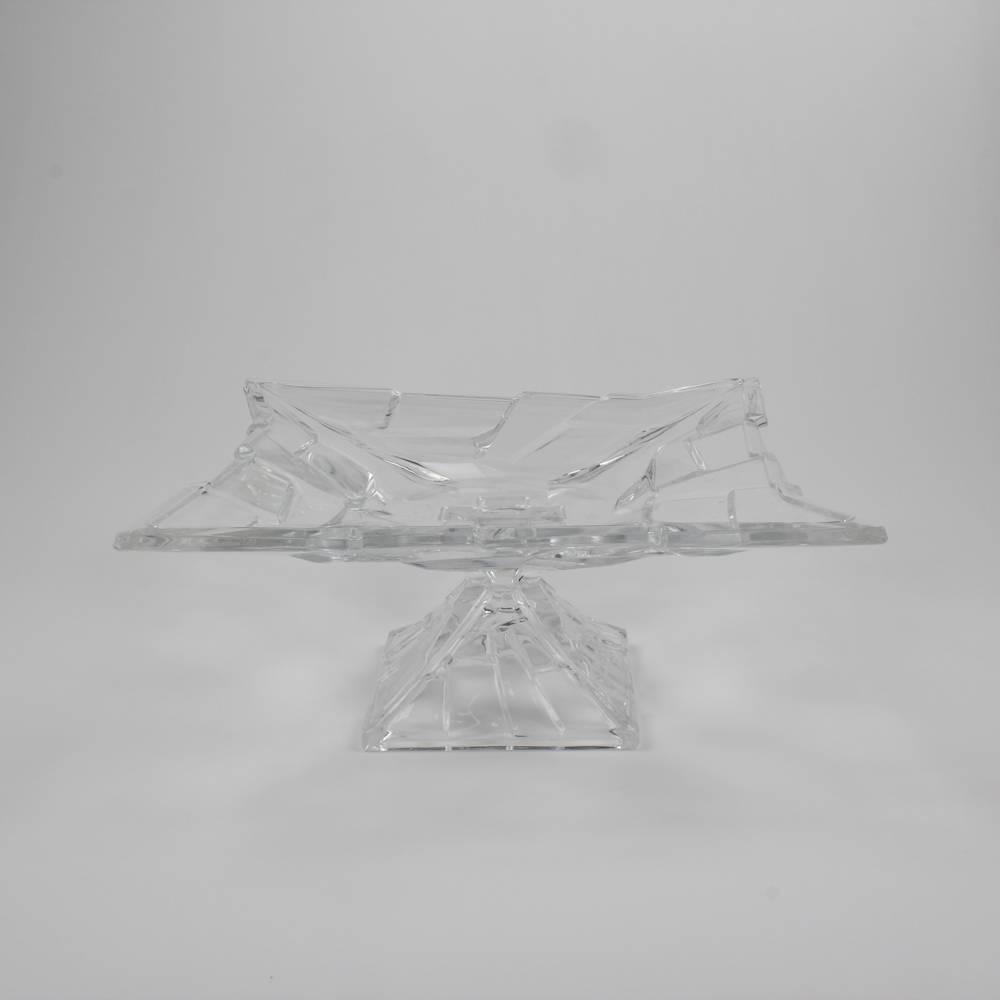 Centro de Mesa Bari Modelo Pedestal Quadrado em Cristal - Wolff - 30x13,5 cm