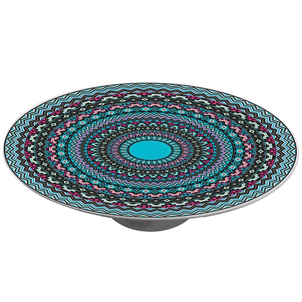 Prato para Bolo Asteca com Pé em Porcelana - Urban - 28x28 cm