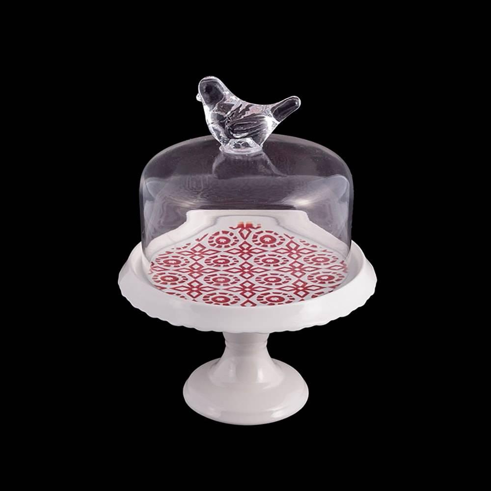 Prato para Bolo Bird Pedestal em Ceramica e Vidro - 25x20 cm