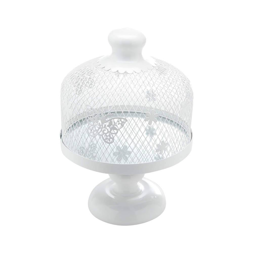 Prato para Bolo Cage Médio com Tampa - Fundo Espelhado - em Metal - Bon Gourmet - 37,5x26 cm