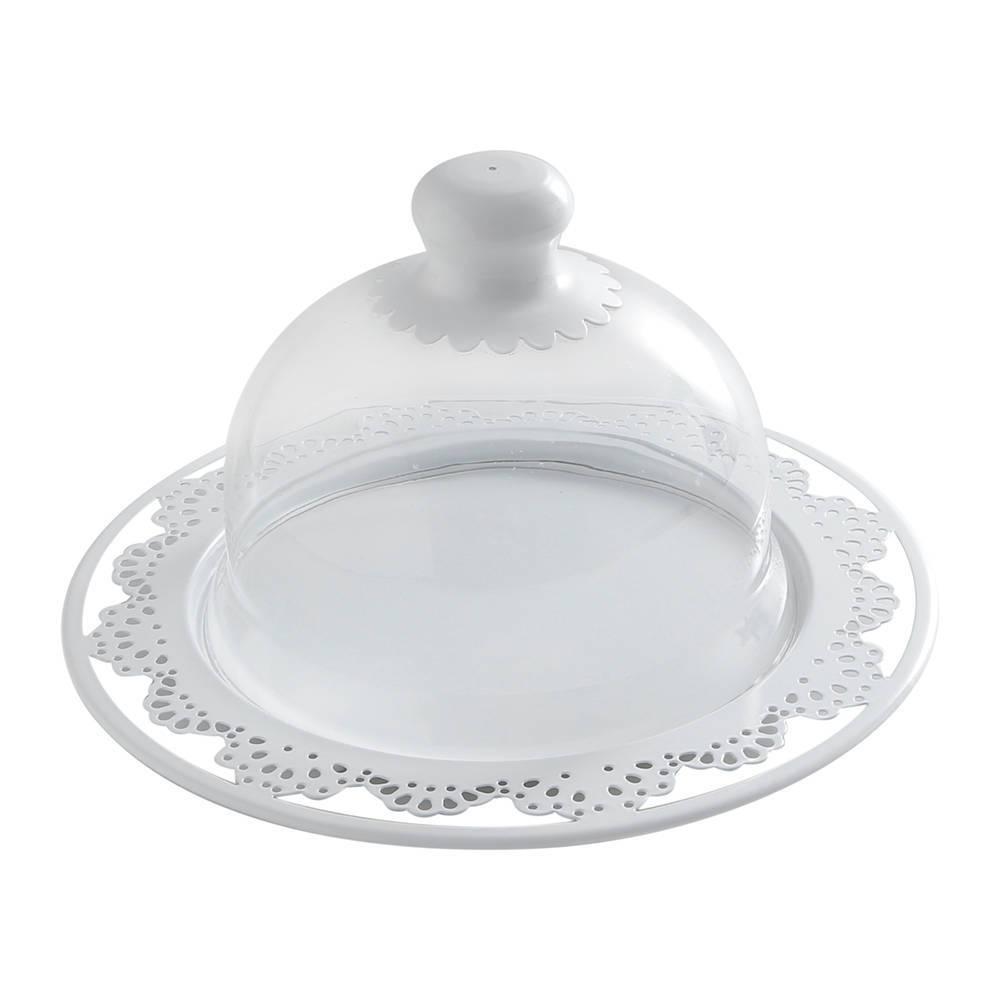 Prato para Bolo Cool Pequeno Cinzelado com Tampa de Vidro - Bon Gourmet - 30x17 cm