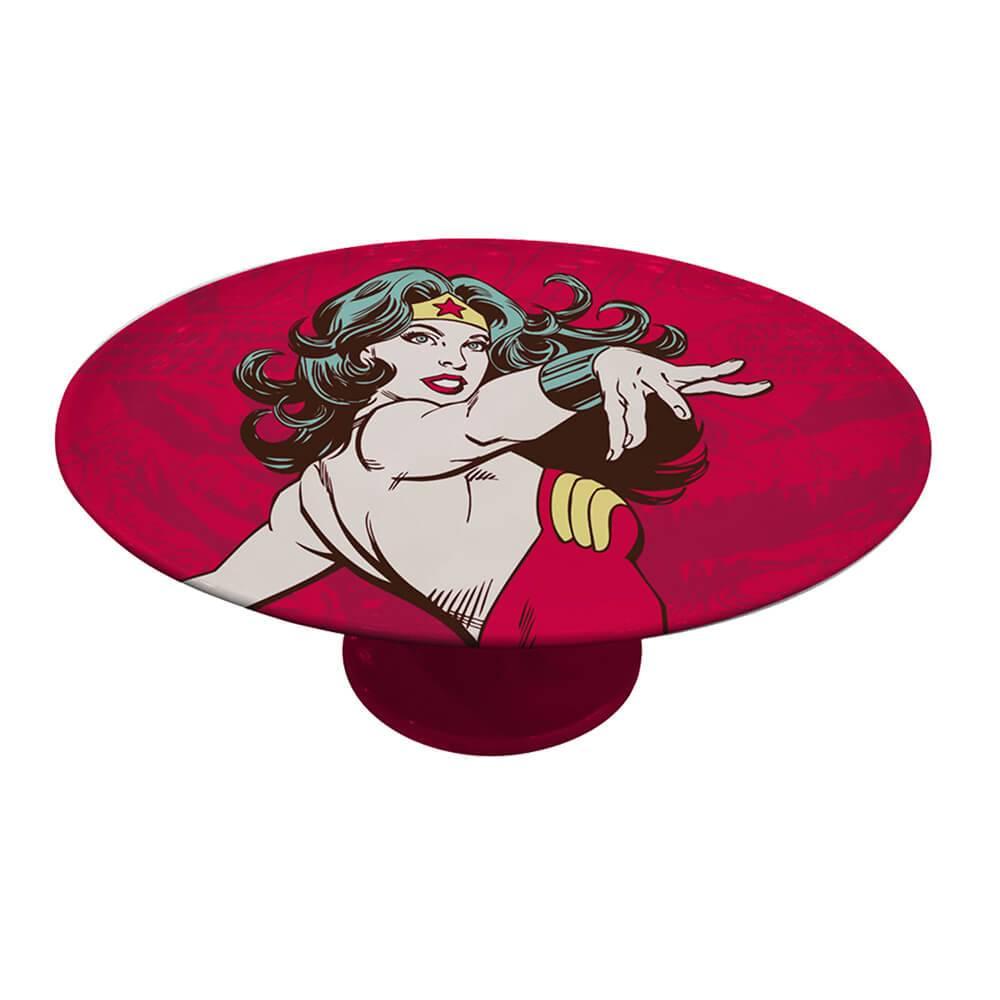 Prato para Bolo DC Comics Wonder Woman Power Vermelho em Porcelana - Urban - 28x28 cm