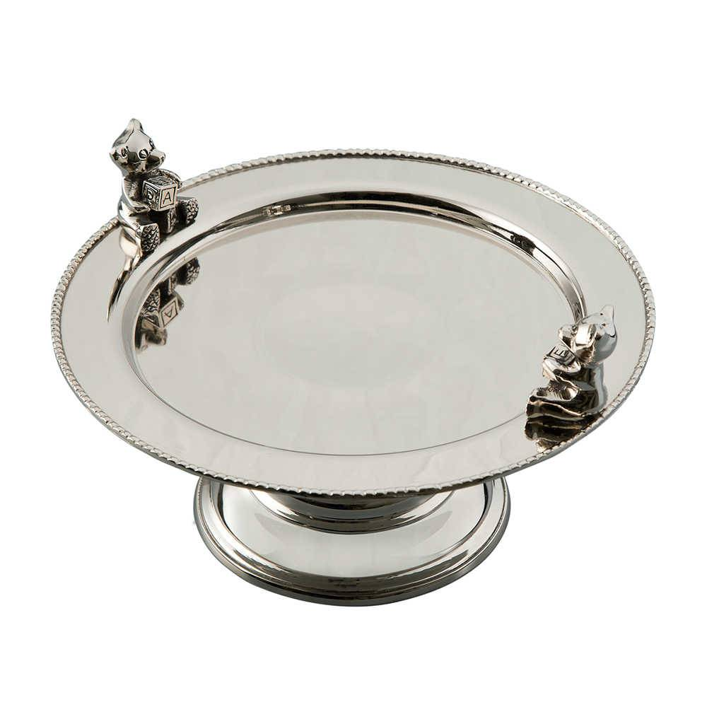 Prato para Bolo com Decoração de Ursinho Prata em Metal - Lyor Classic - 22x13 cm
