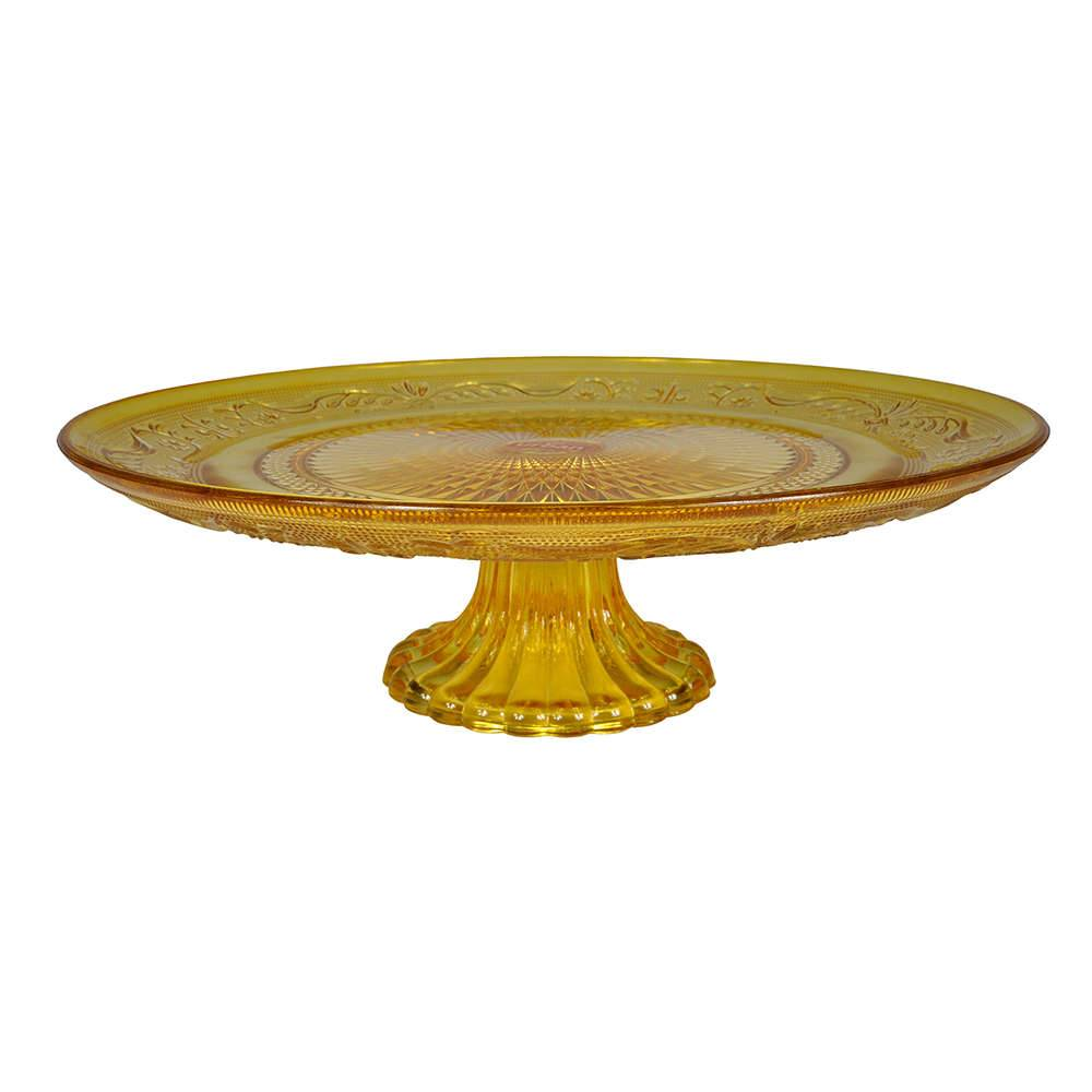 Prato para Bolo Delishop Amarela com Pé em Vidro - Urban - 29x9 cm
