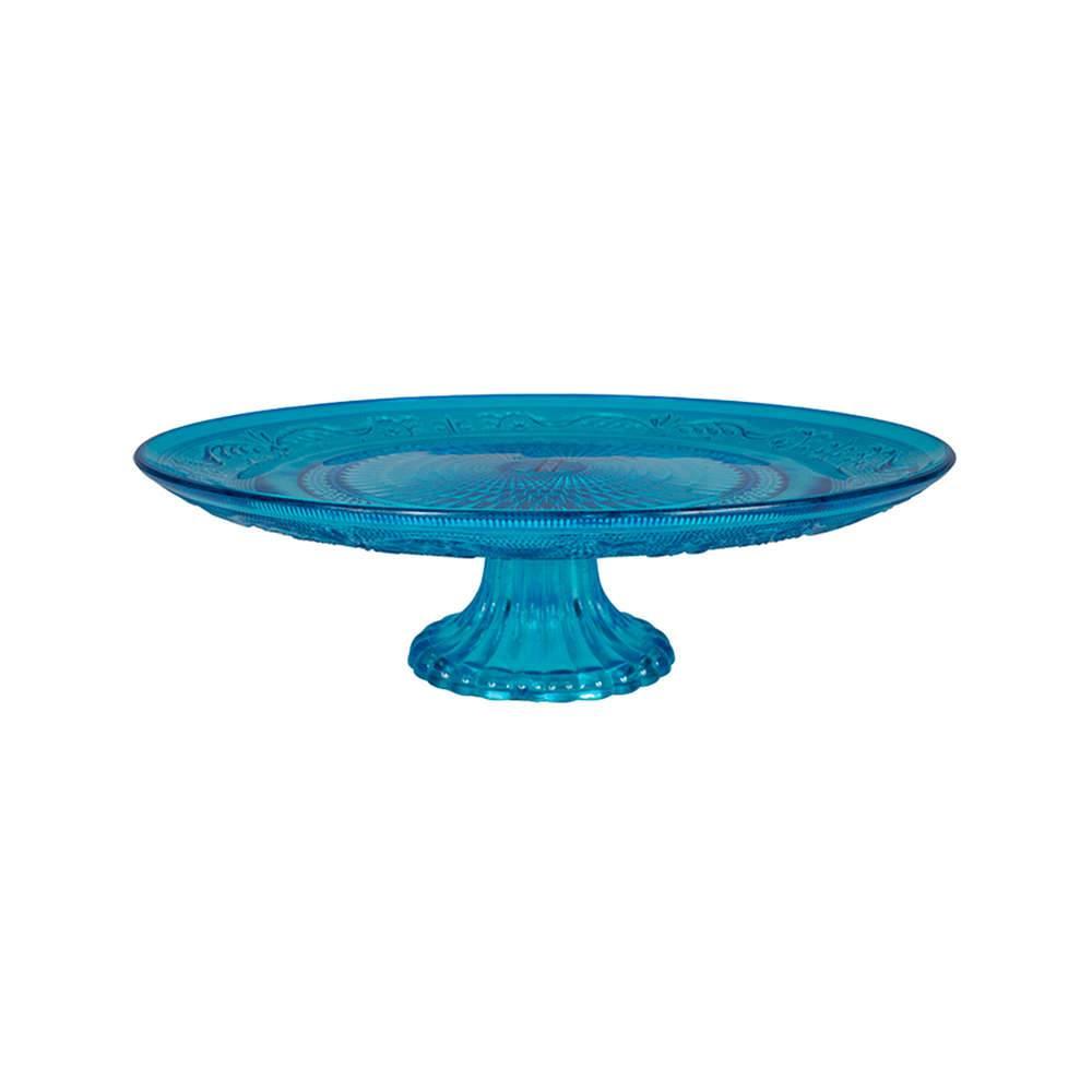 Prato para Bolo Delishop Azul com Pé em Vidro - Urban - 32,5x10,5 cm