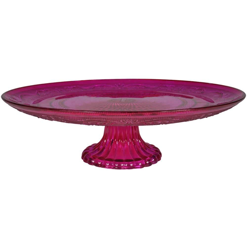 Prato para Bolo Delishop Rosa com Pé em Vidro - Urban - 32,5x10,5 cm