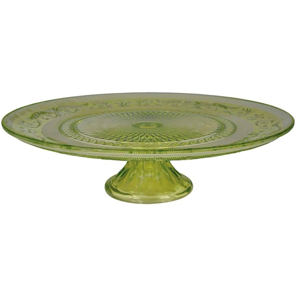 Prato para Bolo Delishop Verde com Pé em Vidro - Urban - 32,5x10,5 cm