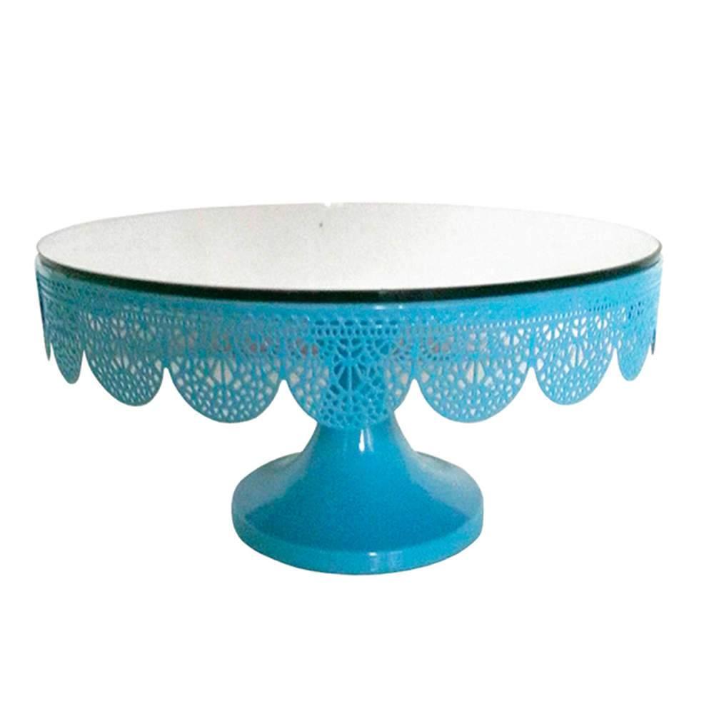 Prato para Bolo Espelhado Médio Fancy Laces Azul com Pé em Ferro - Urban - 13,5x25,5 cm