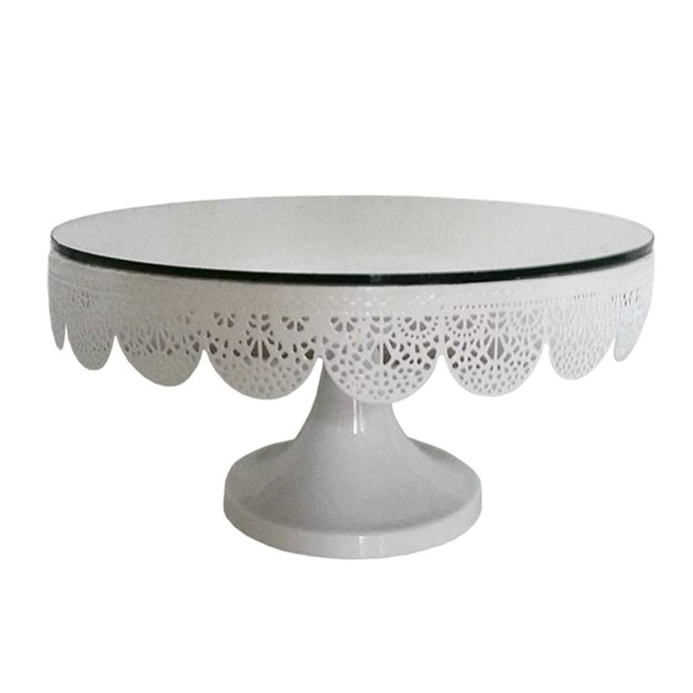 Prato para Bolo Espelhado Médio Fancy Laces Branco com Pé em Ferro - Urban - 25,5x13,5 cm