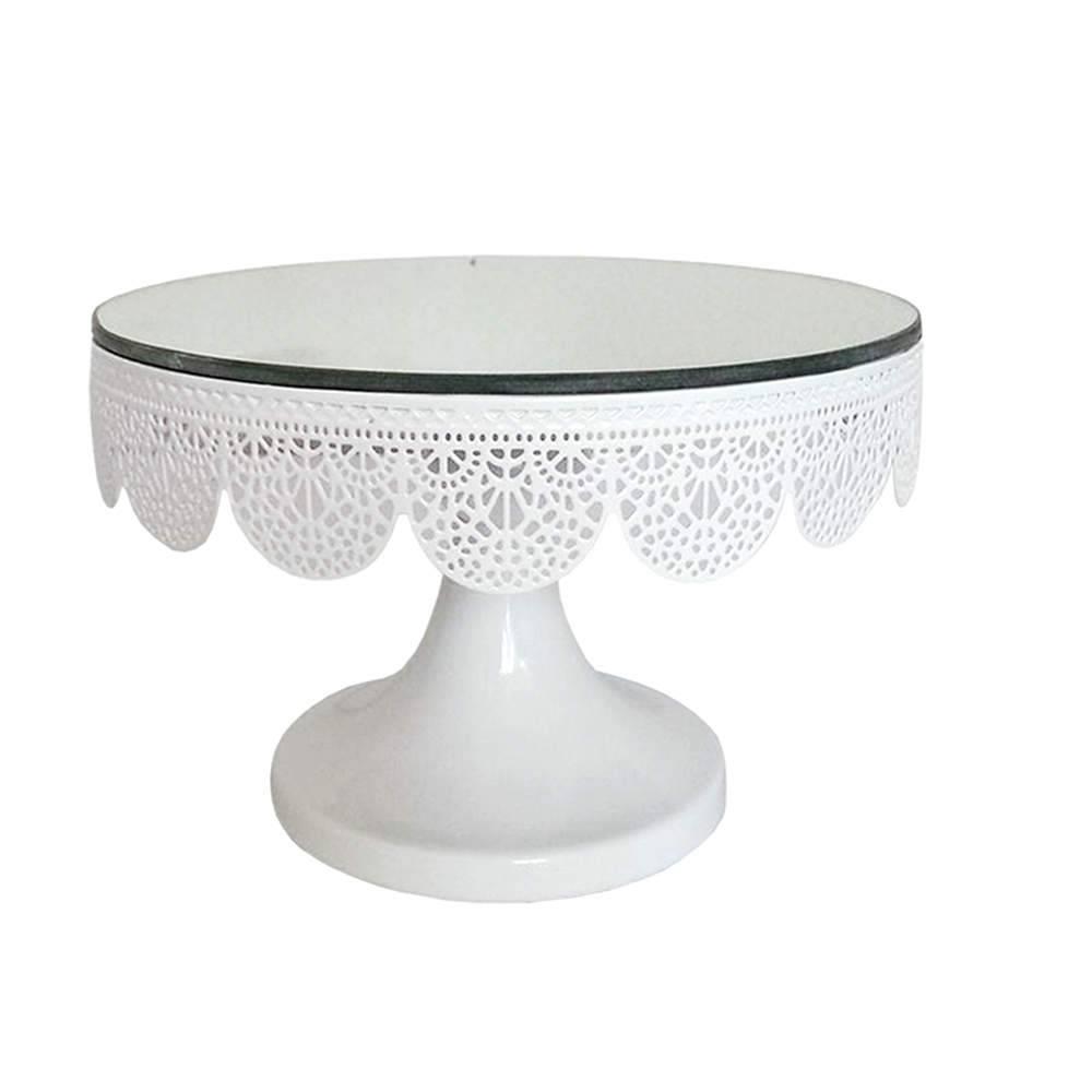 Prato para Bolo Espelhado Pequeno Fancy Laces Branco com Pé em Ferro - Urban - 20x13,5 cm