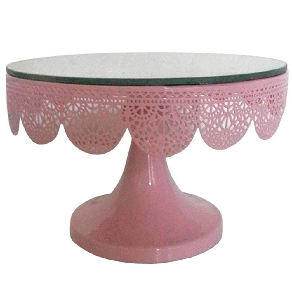 Prato para Bolo Espelhado Pequeno Fancy Laces Rosa com Pé em Ferro - Urban - 20x13,5 cm