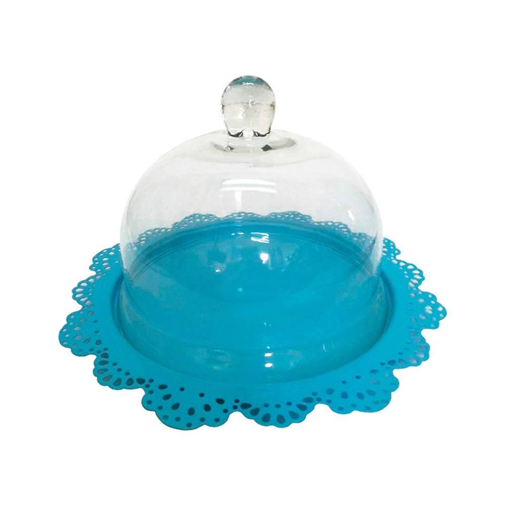 Prato para Bolo Fancy Laces Azul em Ferro com Tampa de Vidro - Urban - 34,3x21,5 cm
