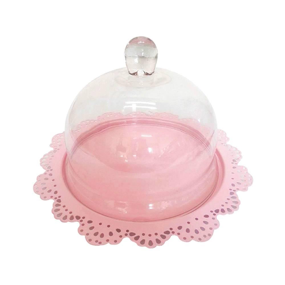 Prato para Bolo Fancy Laces Rosa em Ferro com Tampa de Vidro - Urban - 34,3x21,5 cm