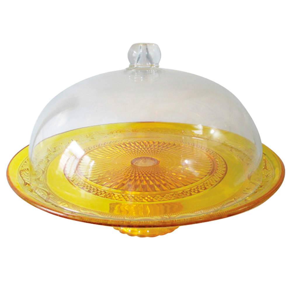 Prato para Bolo Fine Decor Amarelo em Vidro - Urban - 33x26 cm