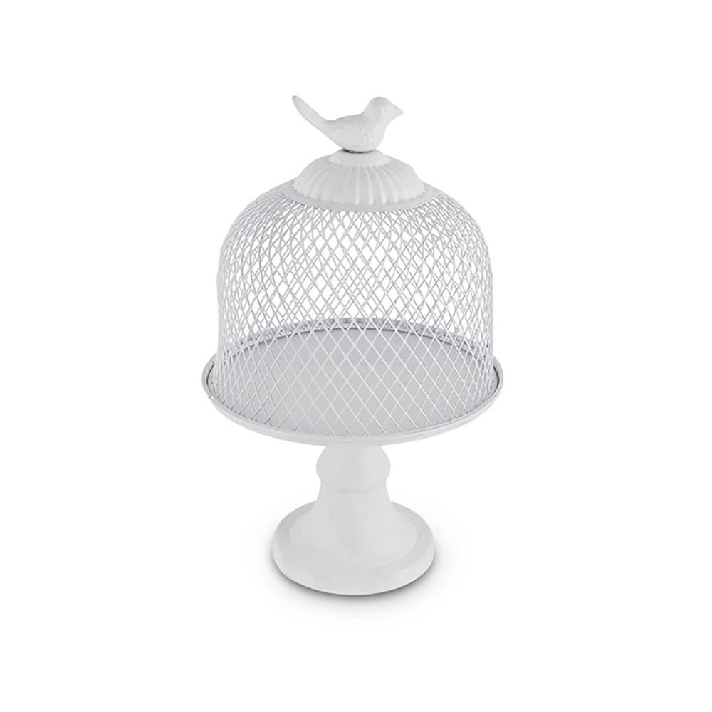 Prato para Bolo Gaiola Branco Pedestal em Metal - 25x16,5 cm