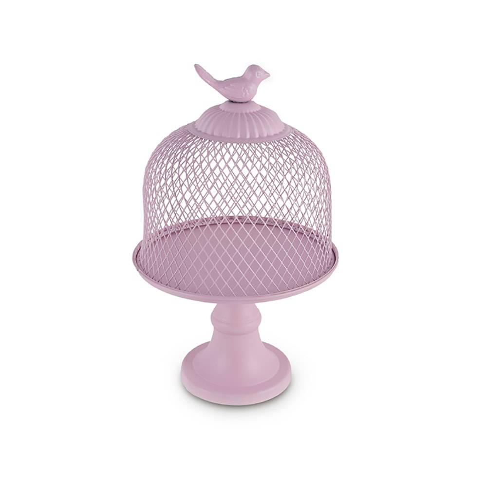 Prato para Bolo Gaiola Rosa Pedestal em Metal - 25x16,5 cm