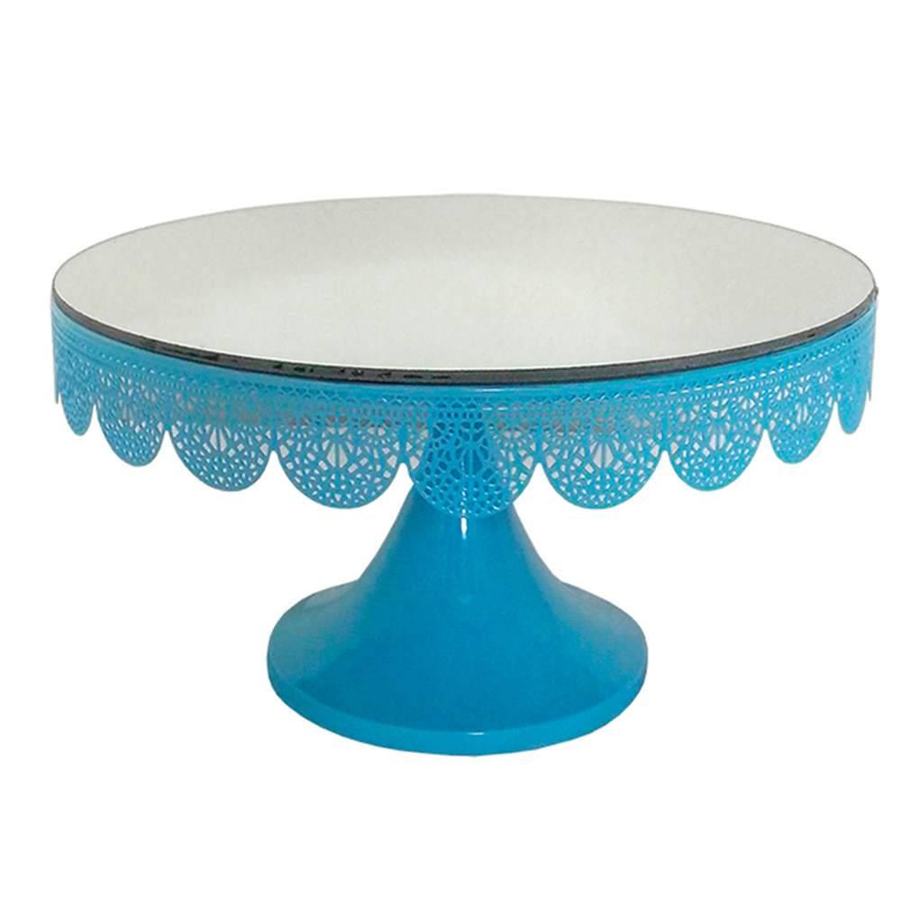 Prato para Bolo Grande Espelhado Fancy Laces Azul com Pé em Ferro - Urban - 30x16,5 cm