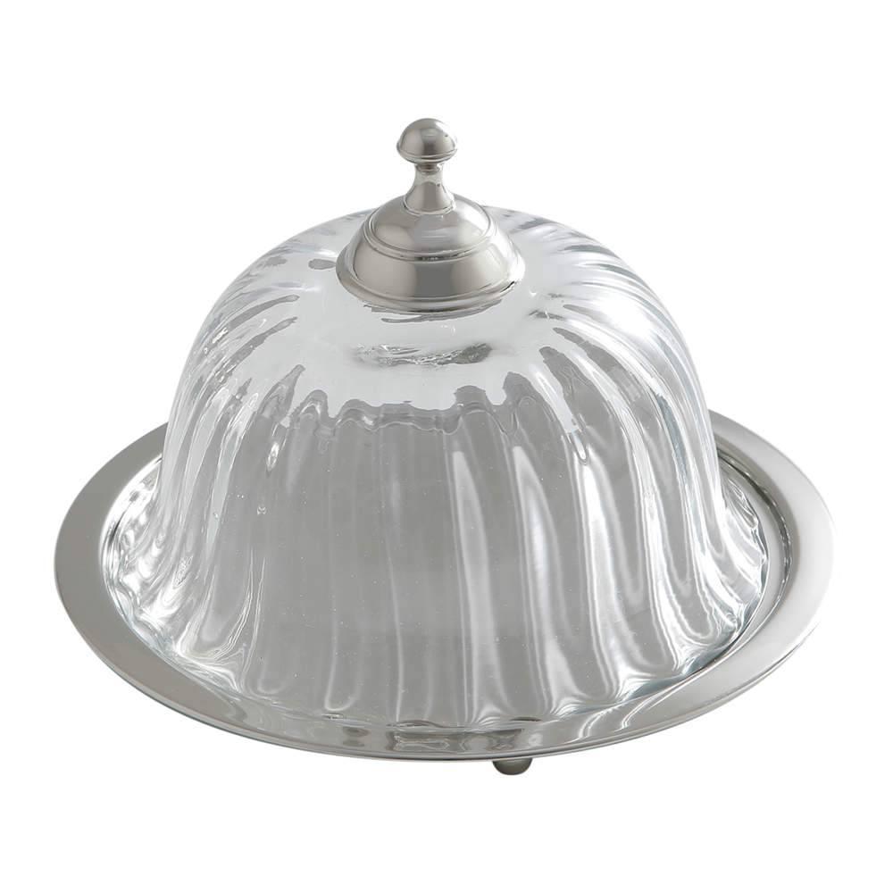 Prato para Bolo Optic Glass Médio em Aço Inox - Prestige - 19,5 cm