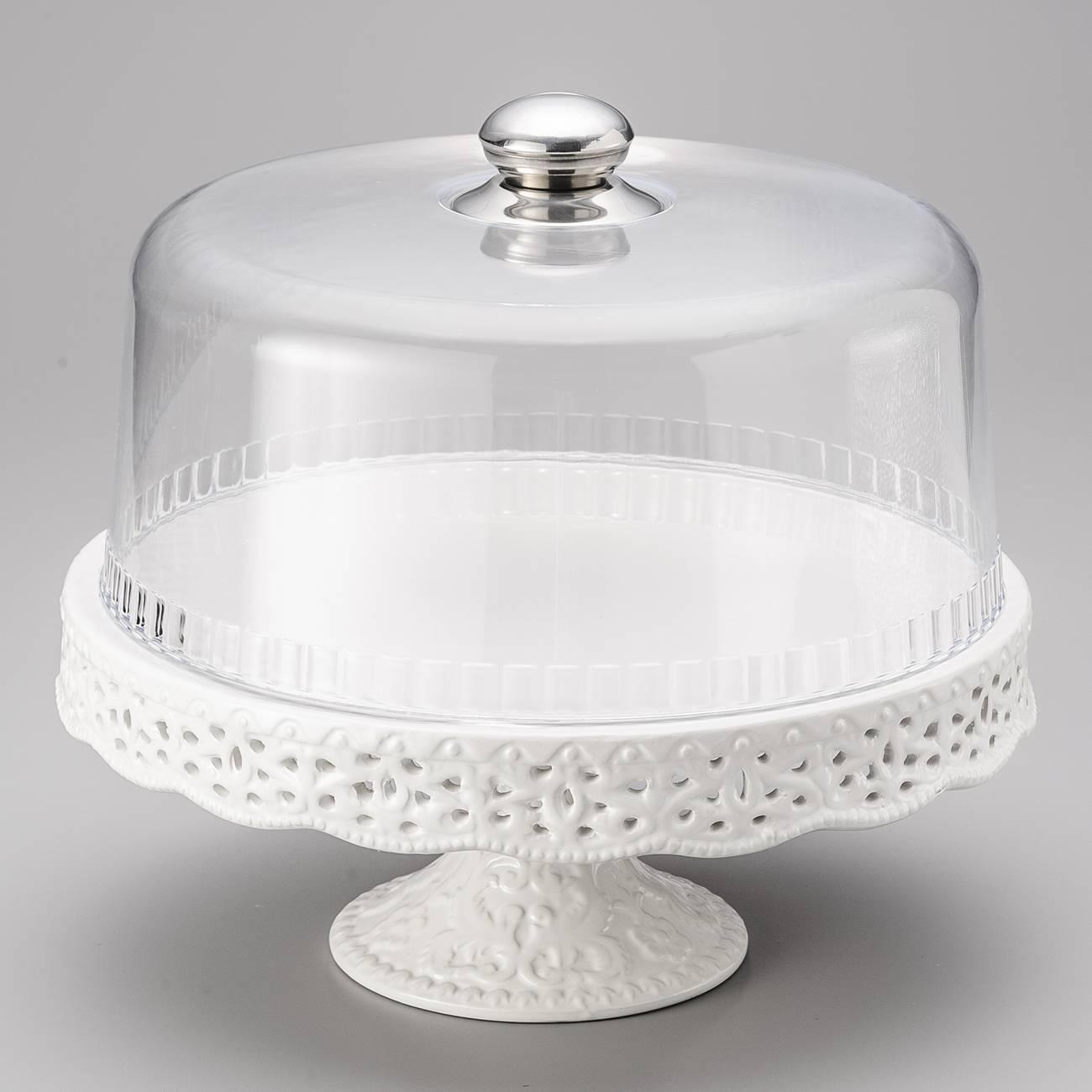 Prato para Bolo Penélope Rendado Branco Pedestal com Tampa - 32 cm