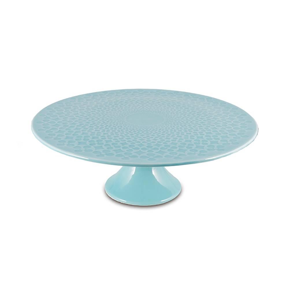 Prato para Bolo Pedestal Azul Grande em Cerâmica - 31x11 cm