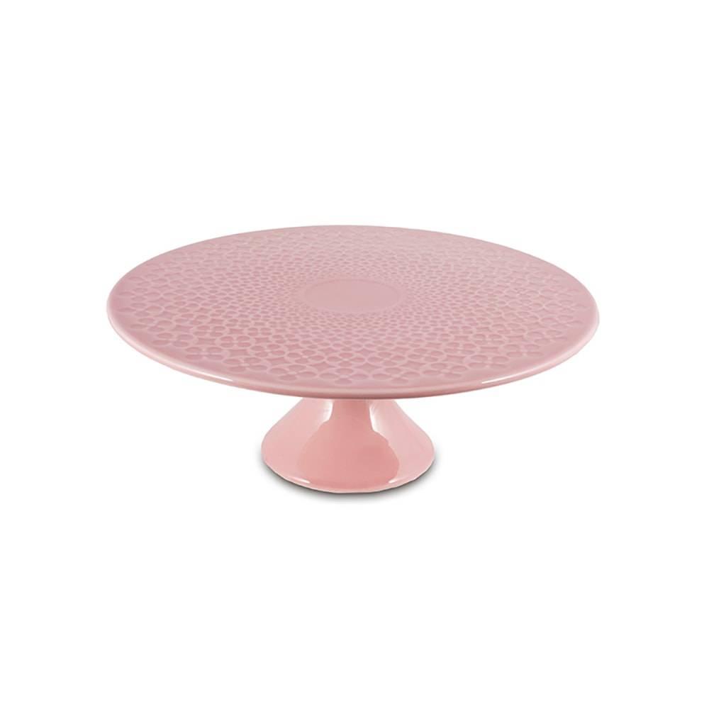 Prato para Bolo Pedestal Rosa em Cerâmica - 27x10 cm
