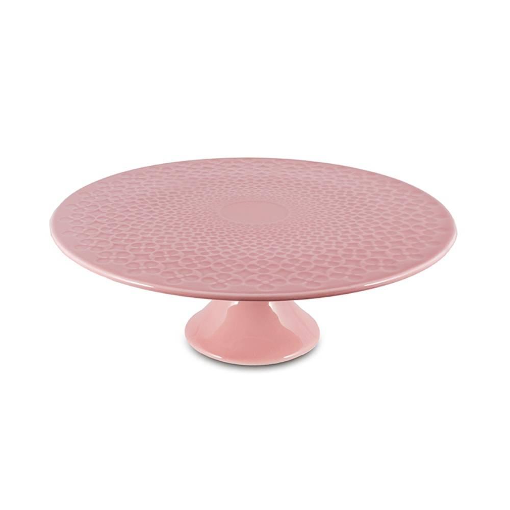 Prato para Bolo Pedestal Rosa Grande em Cerâmica - 31x11 cm