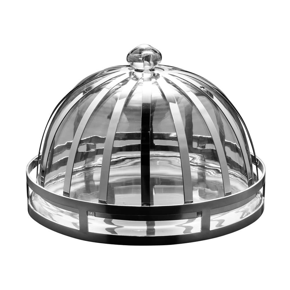 Prato para Bolo Pequeno com Tampa em Metal e Vidro - Lyor Classic - 21x12 cm