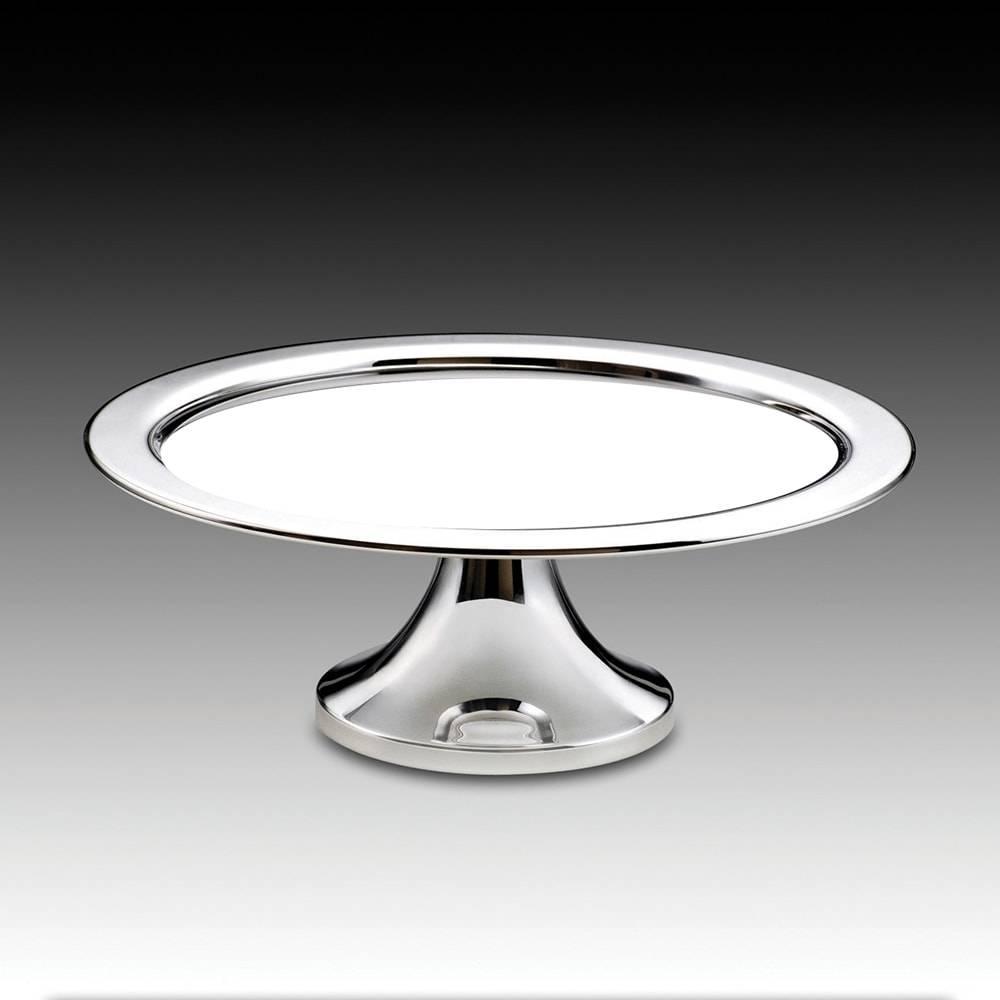 Prato para Bolo em Prata com Vidro Branco - Wolff - 36x13,5 cm
