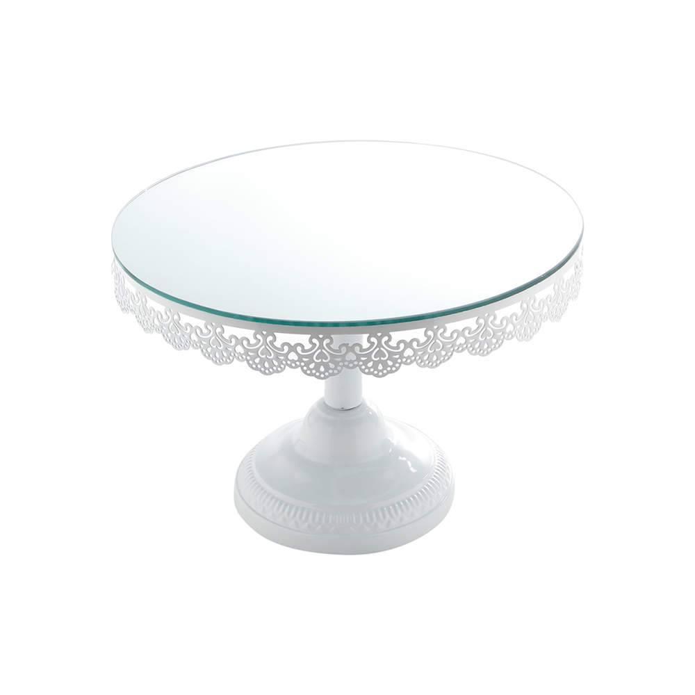 Prato para Bolo Rendinha Branco Pedestal Grande em Ferro Fundido Esmaltado - Bon Gourmet - 30 cm