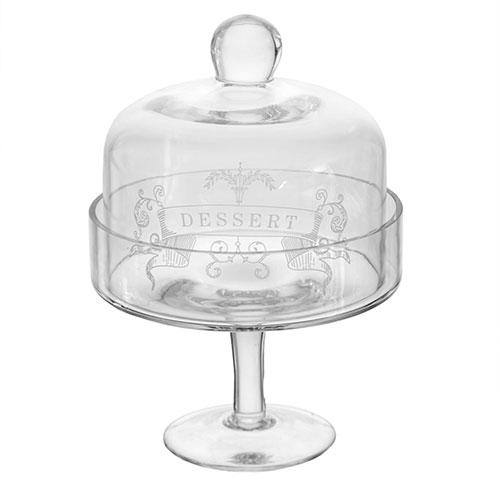 Prato para Bolo com Tampa Dessert Transparente - 19x14 cm