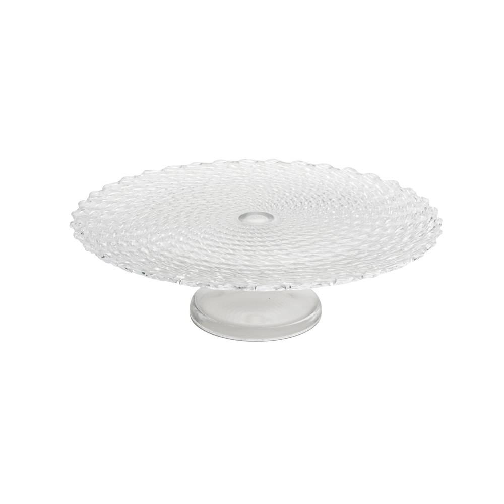 Prato para Bolo Twist Transparente em Vidro - Dekor Cam - 33x12 cm