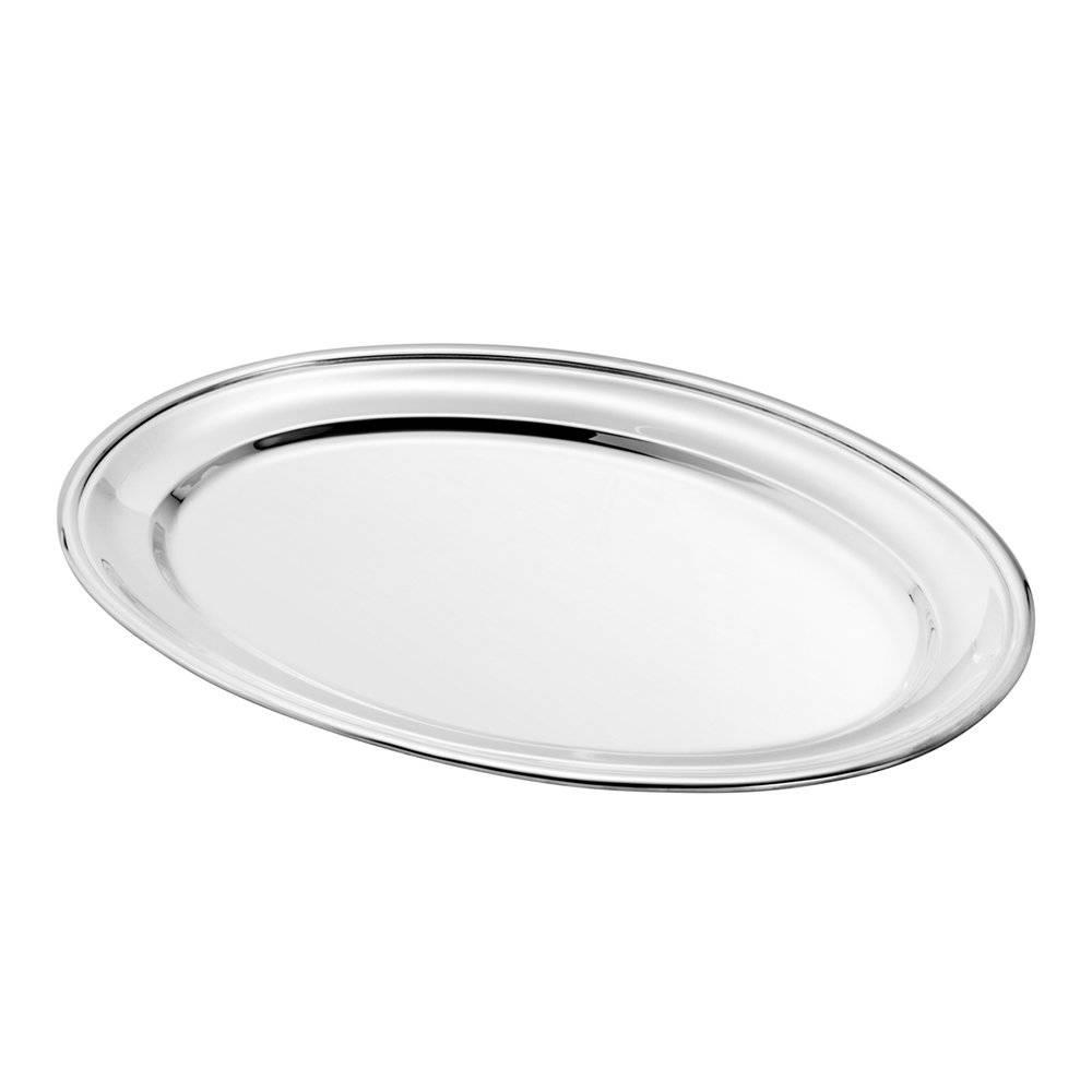 Prato Cordão Liso Oval Multiuso em Prata - Wolff - 56 cm