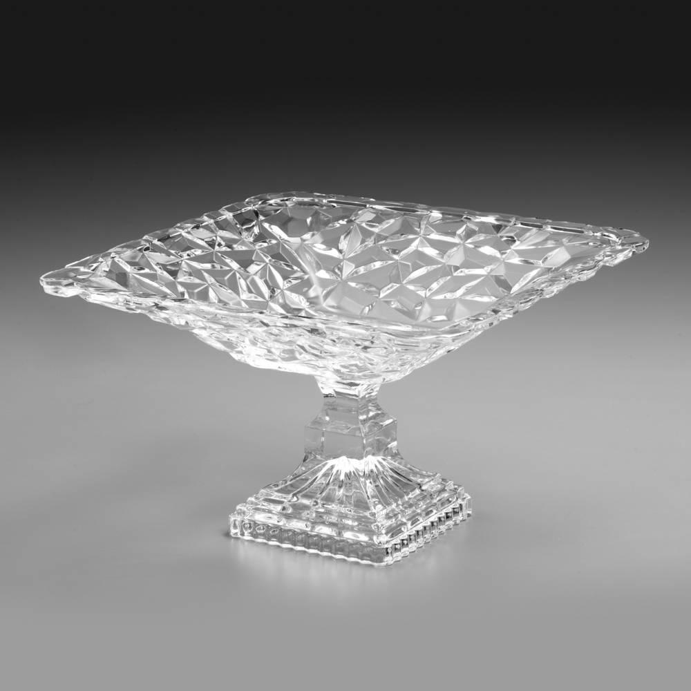 Prato Multiuso Ice Rock Modelo Pedestal em Cristal - 30,5x18 cm