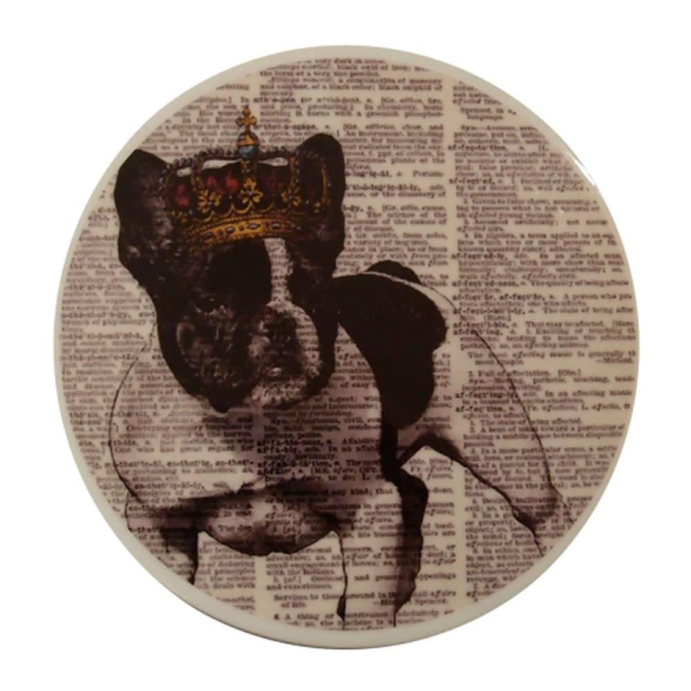 Prato Decorativo Dog Cora Dourada - de Parede - em Porcelana - 20x20 cm