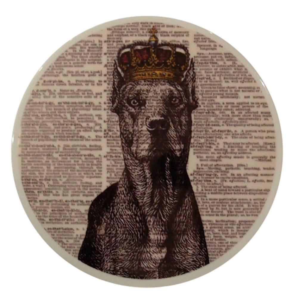 Prato Decorativo Dog com Coroa - de Parede - em Porcelana - 20x20 cm
