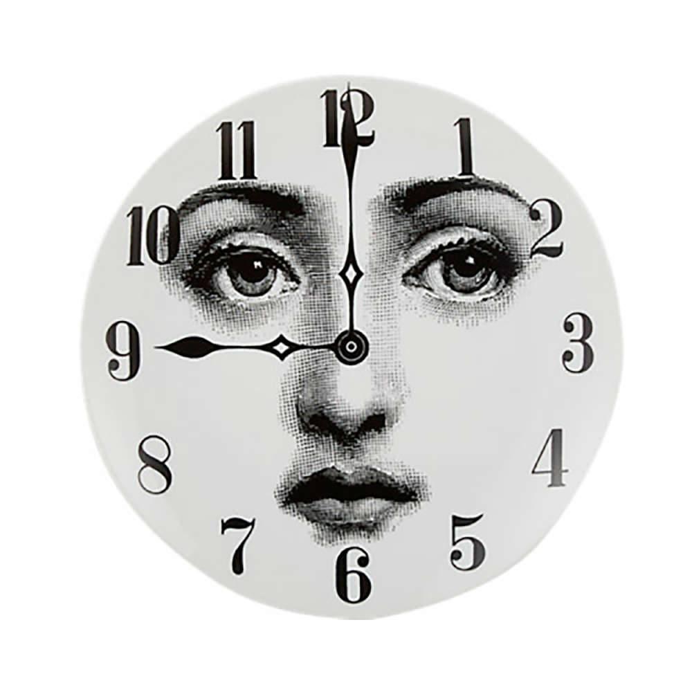 Prato Decorativo Rosto Relógio - de Parede - em Porcelana - 25x25 cm