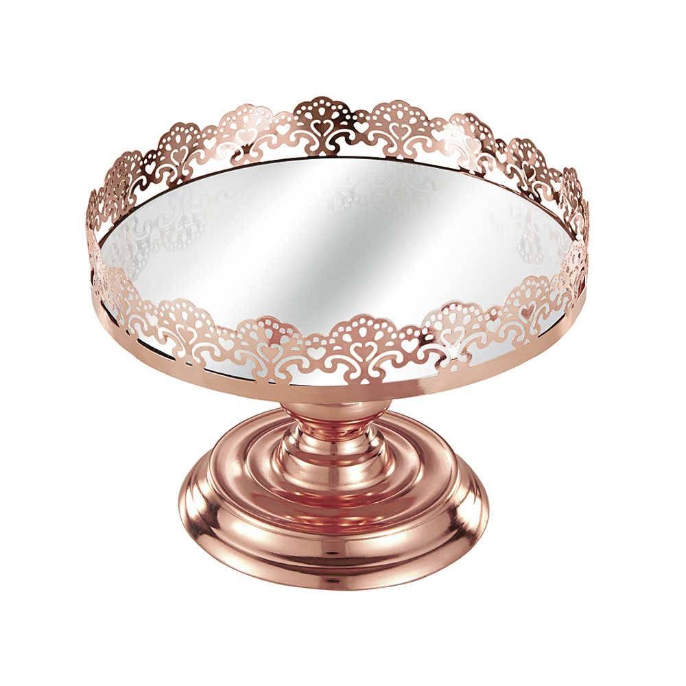 Prato para Doce Fan Grande - com Espelho - Cobre em Metal - 19x14,5 cm