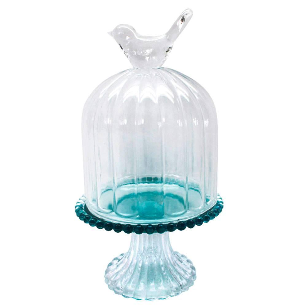 Prato para Doces Bird on The Dome Azul com Suporte em Vidro - Urban - 21x12,5 cm