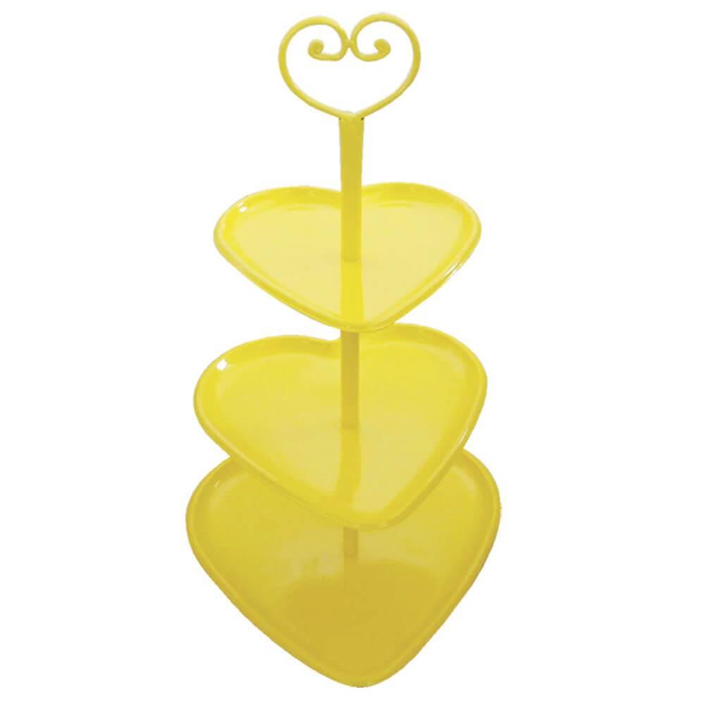 Prato para Doces Coração Amarelo em Metal - Urban - 47x28 cm