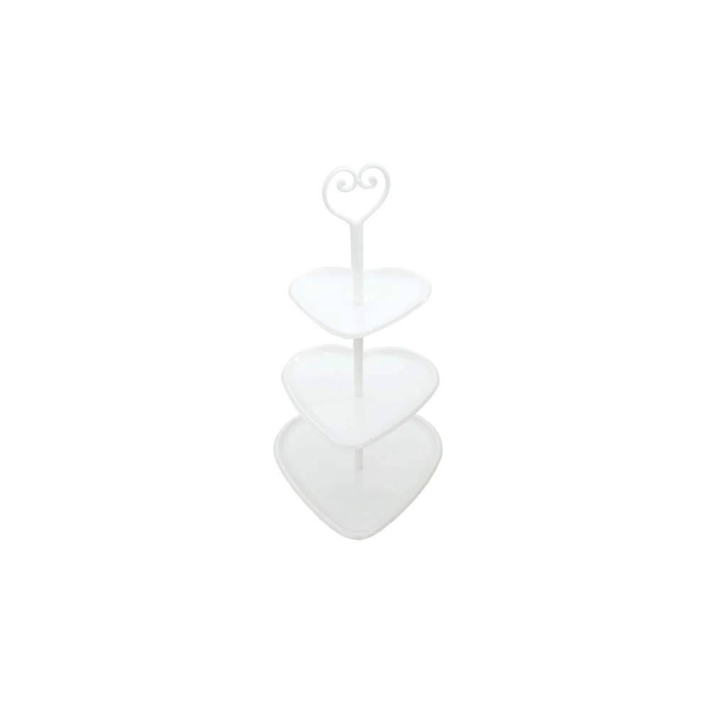 Prato para Doces Coração Branco em Metal - 47x28 cm