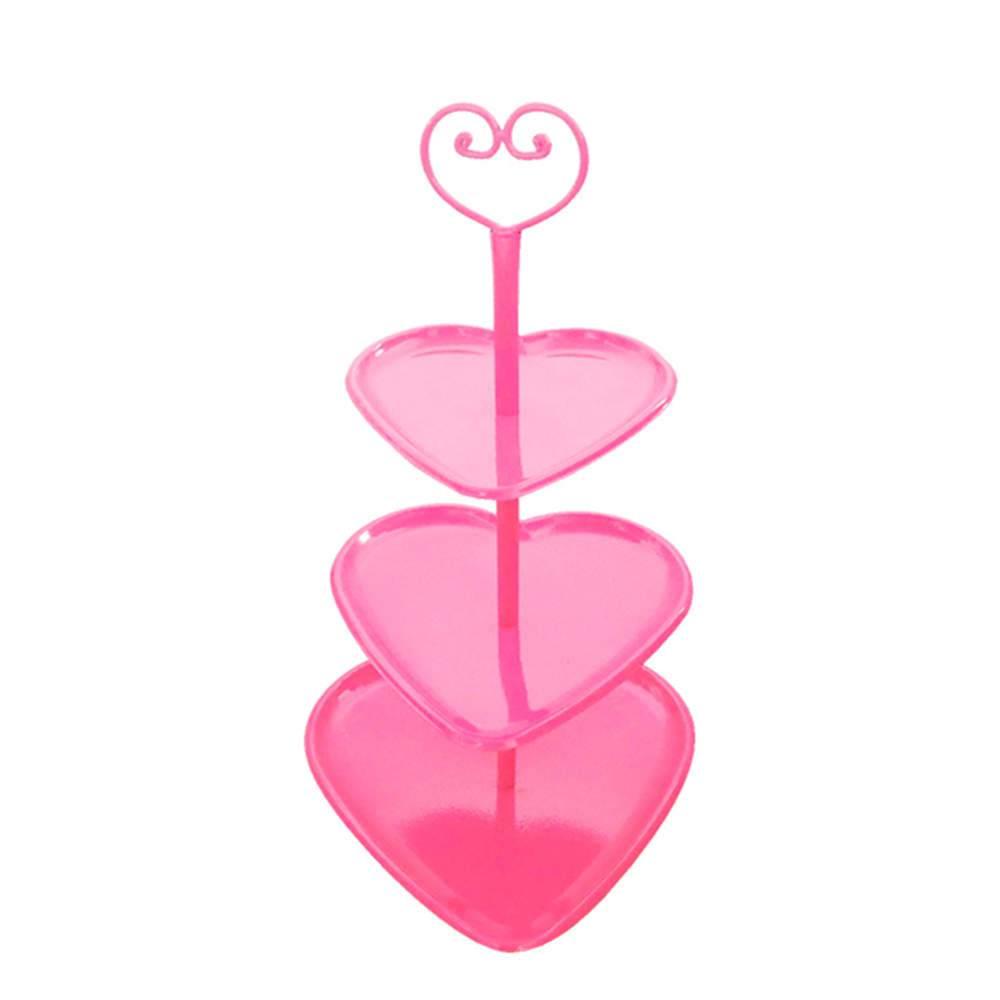 Prato para Doces Coração Rosa em Metal - Urban - 47x28 cm