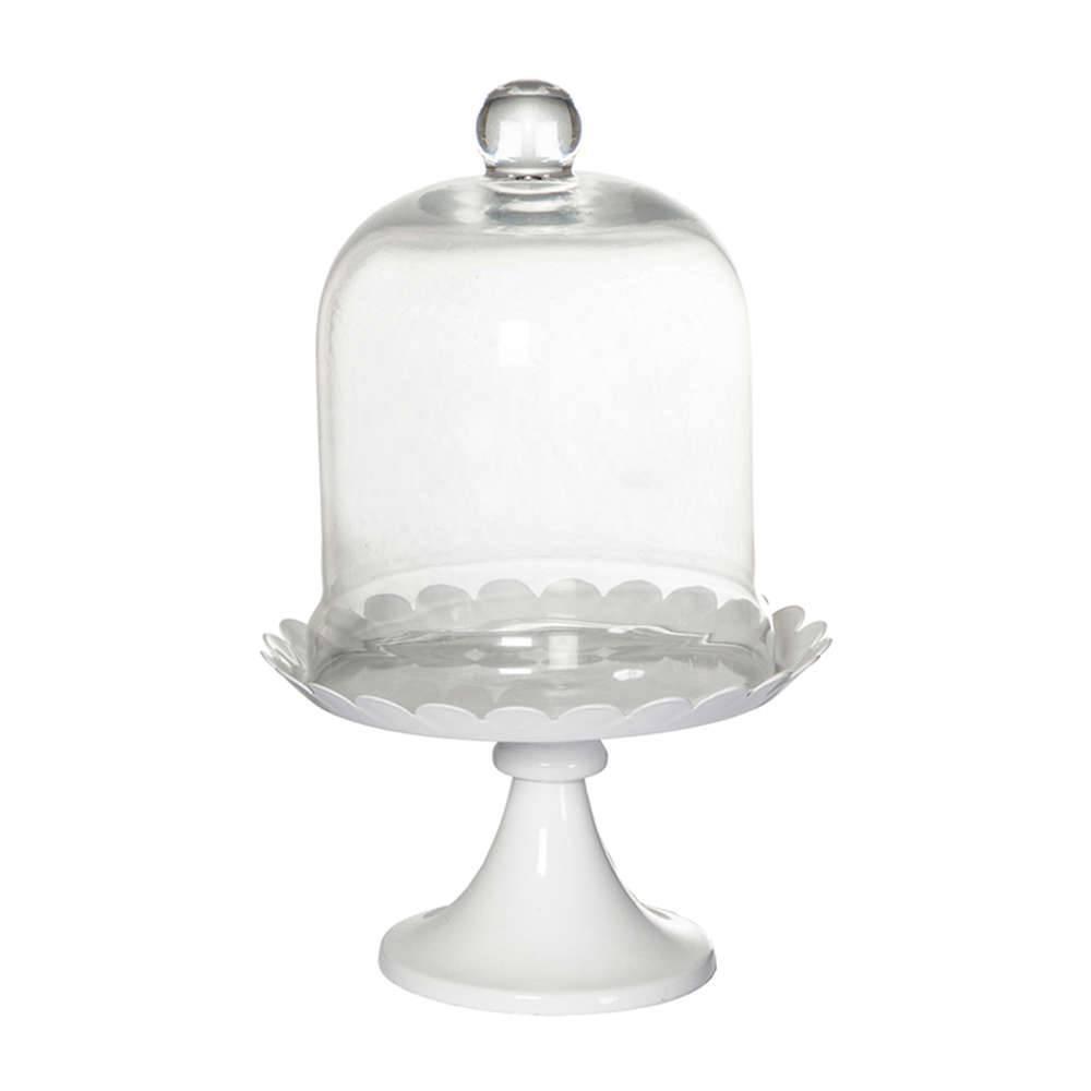 Prato para Doces Delicate Party Branco com Tampa em Vidro e Metal - Urban - 26x17 cm