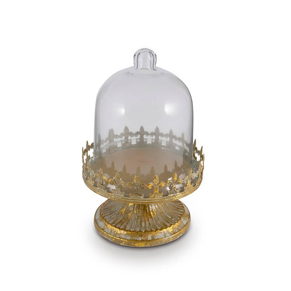 Prato para Doces Flor de Lis Dourado em Metal com Tampa em Vidro - 25x16,5 cm