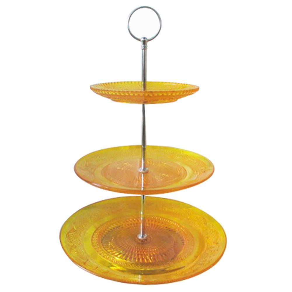 Prato para Doces Glass Amarelo em Vidro - Urban - 38x25 cm